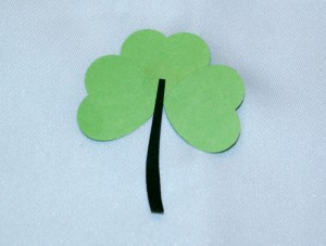 Glue stem on back of shamrock