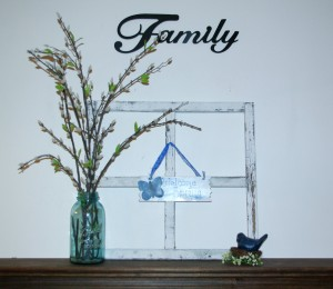 Simple Spring Decor Window Frame, Pussy Willow, Bluw Bird, Mason Jar