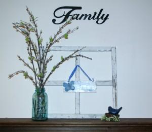 Simple Spring Decor Window Frame, Pussy Willow, Bluw Bird, Mason Jar