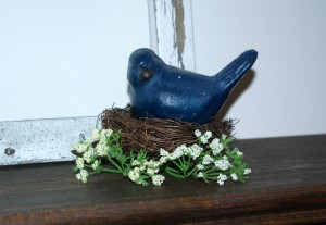 Simple Spring Decor Bird on Nest with Tiny Flowers