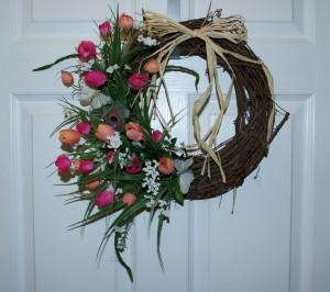 Simple Spring Decor Pink Tulip Wreath