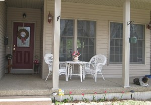 Pretty Pink Tulip Decor on the Porch
