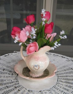 Pretty Pink Tulip Decor in Bowl & Pitcher Display