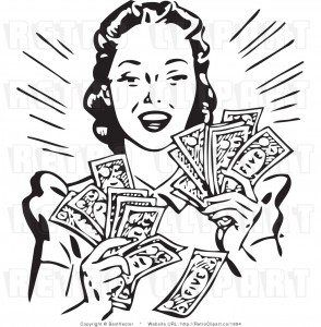 royalty-free-vector-clip-art-of-a-black-and-white-retro-woman-holding-handfuls-of-cash-money-by-bestvector-1994