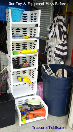 Our OutdoorToy and Equipment Organization Before