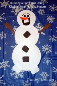 Building A Snowman Using Kitchen Supplies For a Pattern