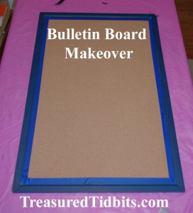 Bulletin Board Makeover Tape off to paint
