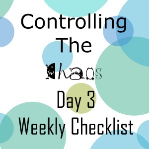 Controlling the Chaos Day 3 Weekly Checklist