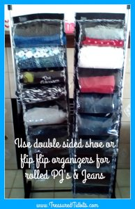 clever closet rod organizing tip use double sided shoe or flip flop organizers to store rolled jeans or pjs