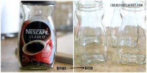 how-to-remove-labels-from-jars-for-bathroom counter organization