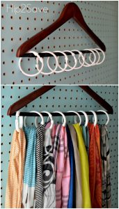 organize your accessories with shower rings on a hanger scarvesbelts-hats