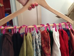 shower hooks and hanger for clever closet organization