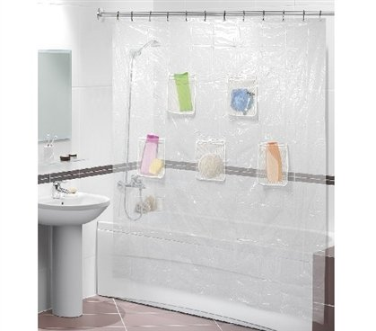 Use A Pocket Shower Curtain To Maximize Bathroom Storage
