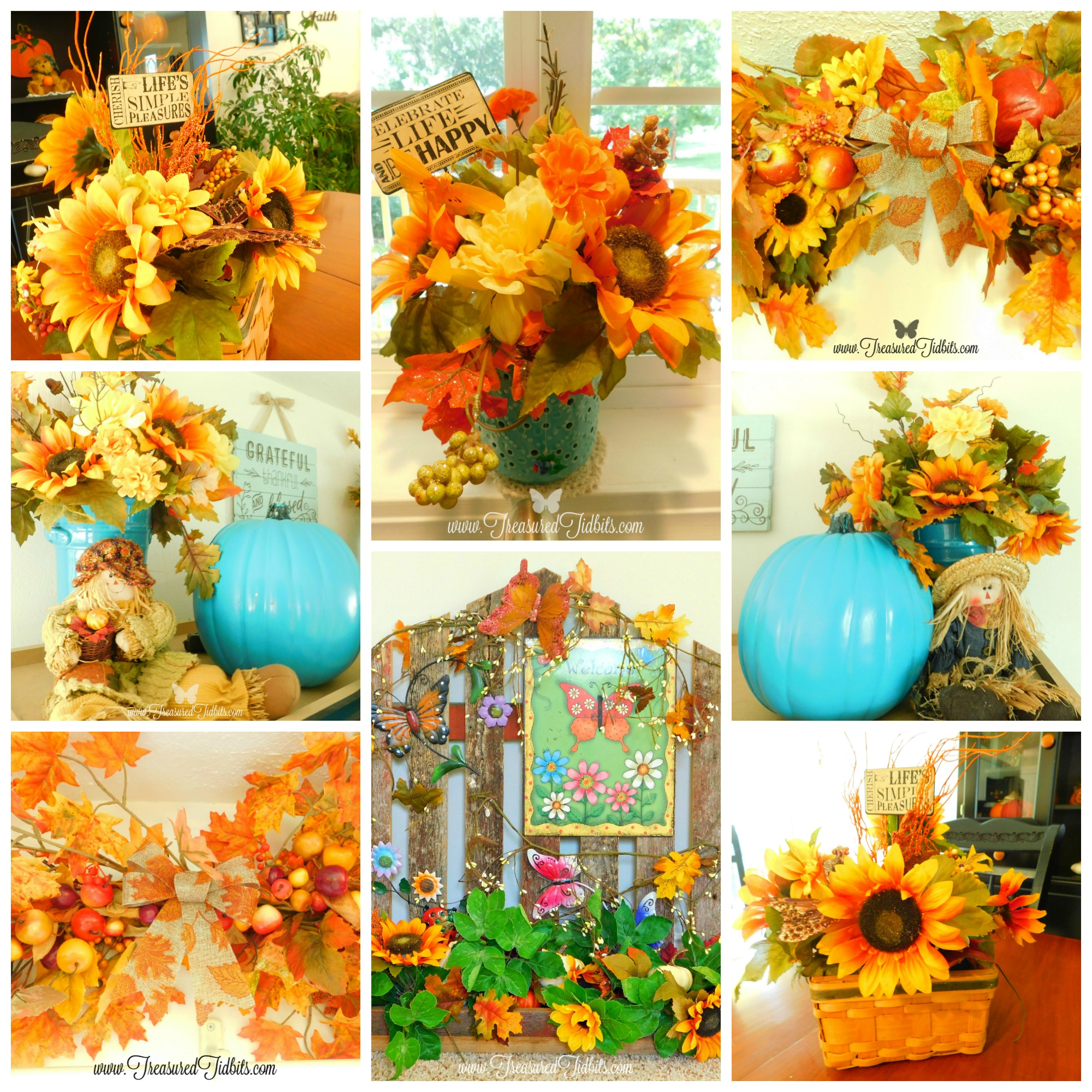 Fall Tour House on the Hill Flower Galore Sunflowers, Chrysanthemums, Leaves & More